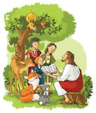 Jesus, der die Bibel zu den Kindern und zu den Tieren liest Stockfotos