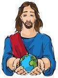 Jesus, der die Handplanet Erde hält Stockbild