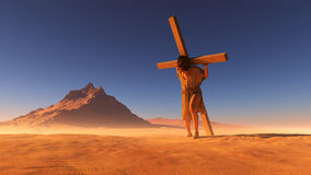 Jesus in the desert. Jesus carries the cross in the desert Royalty Free Stock Photo