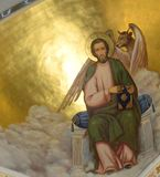 Jesus & devil. Dome of Savior of Ascension church. The morning lighted picture & x22;Jesus & devil& x22; is the part of Dome of Savior of Ascension church stock image