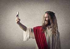 Jesus die een selfie nemen stock afbeeldingen