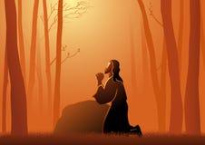 Jesus die in gethsemane bidden royalty-vrije illustratie