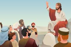 Jesus die het zijn onderwijs uitspreiden aan mensen vector illustratie