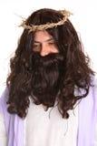 Jesus die kroon van doornen draagt stock foto