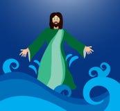 Jesus die op het water lopen Stock Afbeeldingen