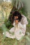 Jesus die op onderstel van olijven bidden Stock Afbeeldingen