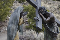 Jesus died for us. One of 15 sculptures at Stations of The Cross On San Pedro Mesa, San Luis Colorado depicting the Passion, Death and Resurrection of Jesus Royalty Free Stock Photo