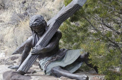 Jesus died for us. One of 15 sculptures at Stations of The Cross On San Pedro Mesa, San Luis Colorado depicting the Passion, Death and Resurrection of Jesus Royalty Free Stock Images