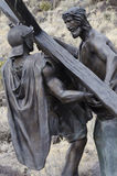 Jesus died for us. One of 15 sculptures at Stations of The Cross On San Pedro Mesa, San Luis Colorado depicting the Passion, Death and Resurrection of Jesus Royalty Free Stock Image