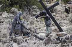 Jesus died for us. One of 15 sculptures at Stations of The Cross On San Pedro Mesa, San Luis Colorado depicting the Passion, Death and Resurrection of Jesus royalty free stock photography