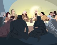 Jesus with the disciples. Before Easter royalty free illustration