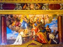Jesus Doge Angels Painting Palazzo Ducale Doge& x27; s-slott Venedig I Royaltyfri Foto