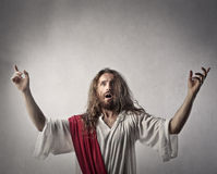 Jesus doing a sermon. On a plain background Royalty Free Stock Images