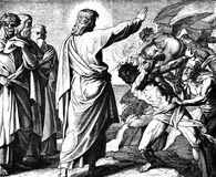 Jesus Drives Out en demon fotografering för bildbyråer