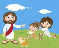 Jesus e crianças Fotos de Stock
