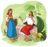 Jesus e a mulher do samaritano no poço ilustração royalty free