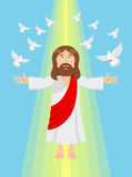 Jesus e pombos Ascensão do Jesus Cristo ilustração stock