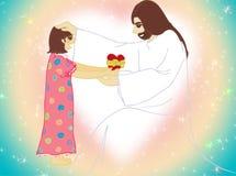 Jesus e um desenho da menina Foto de Stock Royalty Free