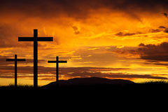 Jesus Easter Cross. Three crosses at sunset representing the crucifixion of Jesus Royalty Free Stock Photos