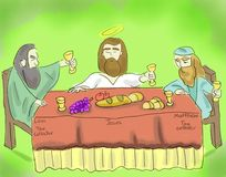 Jesus Eating With Tax Collectors stock illustratie