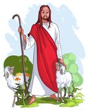 Jesus is een goede herder Stock Foto's