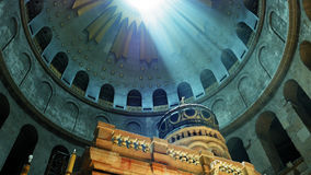 Jesus Empty Tomb in Jerusalem and Dome over it. Jesus Christ Empty tomb and Dome rotunda over it in Jerusalem in the Holy Sepulcher Church. The Sepulchre Church royalty free stock image