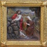Jesus en de Samaritaanvrouw Stock Afbeeldingen