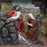 Jesus en de Samaritaanvrouw Stock Foto