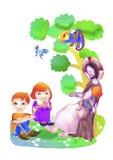 Jesus en kinderen De illustratie van de waterverf Royalty-vrije Stock Foto's