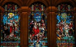 Jesus en Lucifer, Jesus in Cana en Doopsel door Heilige John Stock Afbeelding