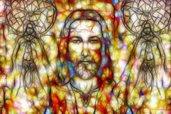 Jesus en mooie engel die met duif, geestelijk concept zijn Fractal het schilderen stock illustratie