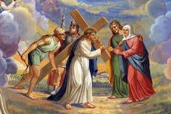Jesus encontra sua matriz Imagem de Stock Royalty Free