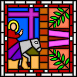 Jesus entering Jerusalem. Illustration of a part of a stained glass window showing Jesus entering Jerusalem on a donkey. Useful also as Easter greeting card. You Royalty Free Stock Photos