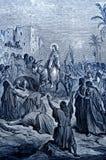 Jesus Enters en Jerusalén stock de ilustración