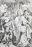 The Jesus entry to Jerusalem lithography Royalty Free Stock Photos