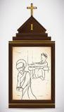 Jesus fördömas till döds, vektorillustrationen Arkivbilder