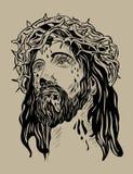 Jesus Face. Art vector sketch drawing design royalty free illustration
