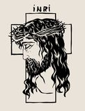 Jesus Face with Cross Line, art vector design. Jesus Face Silhouette, art vector design, file EPS and JPEG Stock Photo