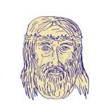Jesus Face Crown van Doornen het Trekken Royalty-vrije Stock Fotografie