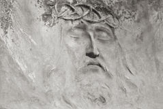 Jesus face from the tombstone Royalty Free Stock Image