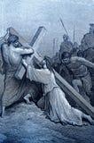 Jesus Falls con la cruz ilustración del vector