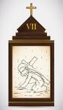 Jesus Falls la deuxième fois, illustration de vecteur Image stock