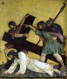 Jesus falls the third time, 9th Stations of the Cross. In Hohenberg, Germany Stock Images