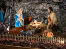 Jesus family and christmas scene. Christmas scene with baby Jesus Stock Images