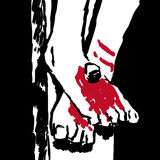 Jesus feet. Illustration of the wounded feet of Christ Royalty Free Stock Photos