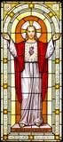 Jesus-Fensteranstrich im Kirchhof Stockbild