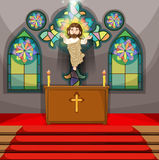 Jesus figure in the church. Illustration Royalty Free Stock Image
