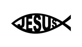 Jesus fish symbol. Christian church fish with jesus word religious symbol Royalty Free Stock Images