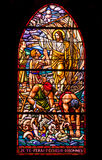 Jesus and Fishermen Stained Glass Window Stock Photo