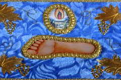 Jesus foot icon. From Serbian Orthodox Monastery stock images